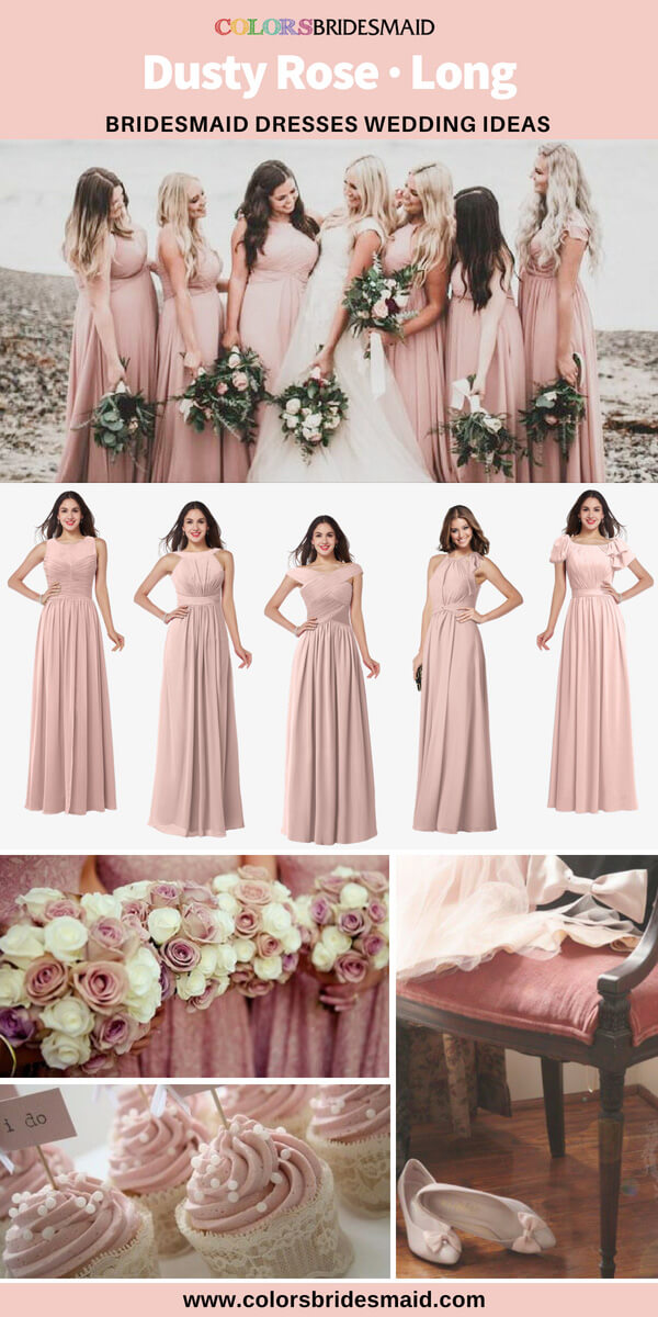 dusty rose bridesmaid dresses long