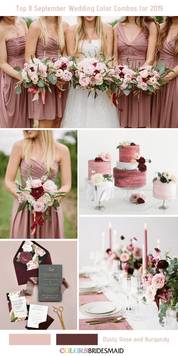 September Wedding flowers -  Combos for 2019- Dusty Rose + Burgundy