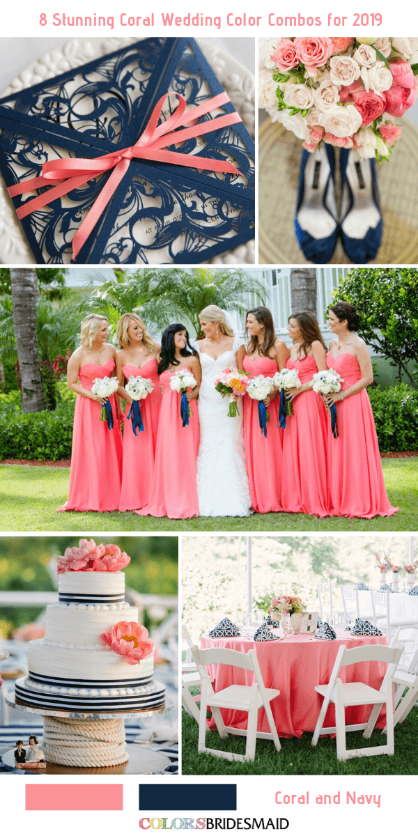Navy And Coral Wedding.8 Stunning Coral Wedding Color Combos For 2019 Colorsbridesmaid