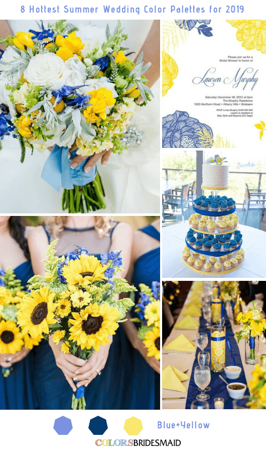 8 Fresh Summer Wedding Color Palettes and ideas for 2019 - Blue and Yellow