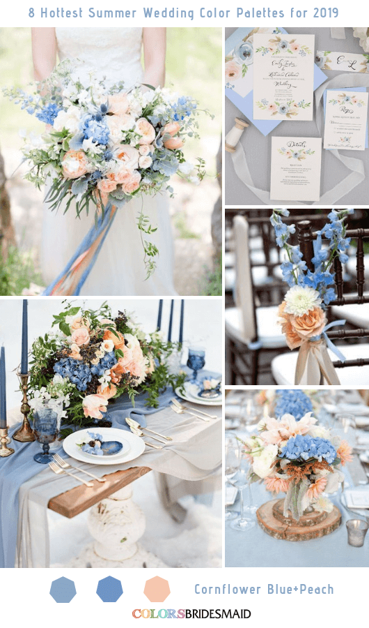 8 Fresh Summer Wedding Color Palettes and ideas for 2019 - Cornflower Blue and Peach