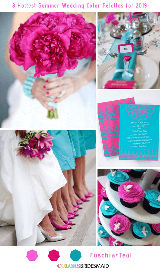 8 Fresh Summer Wedding Color Palettes and ideas for 2019 - Fuschia and Teal