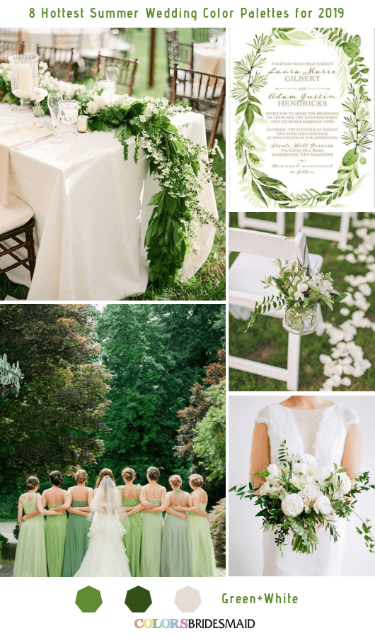 8 Fresh Summer Wedding Color Palettes and ideas for 2019 - Green and White