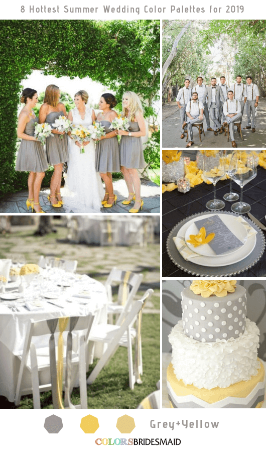 8 Fresh Summer Wedding Color Palettes and ideas for 2019 - Grey and Yellow