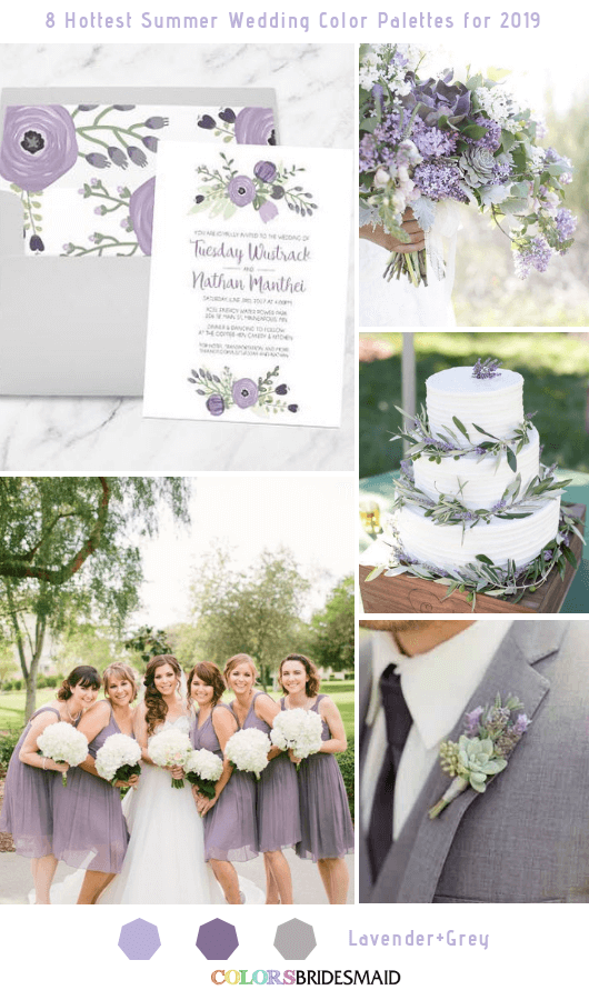 8 Fresh Summer Wedding Color Palettes and ideas for 2019 - Lavender and Grey