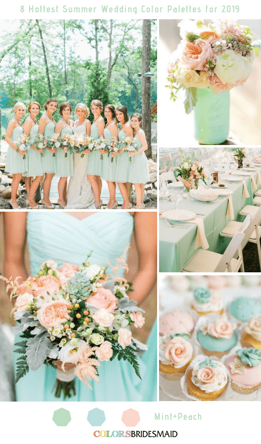8 Fresh Summer Wedding Color Palettes and ideas for 2019 - Mint and Peach
