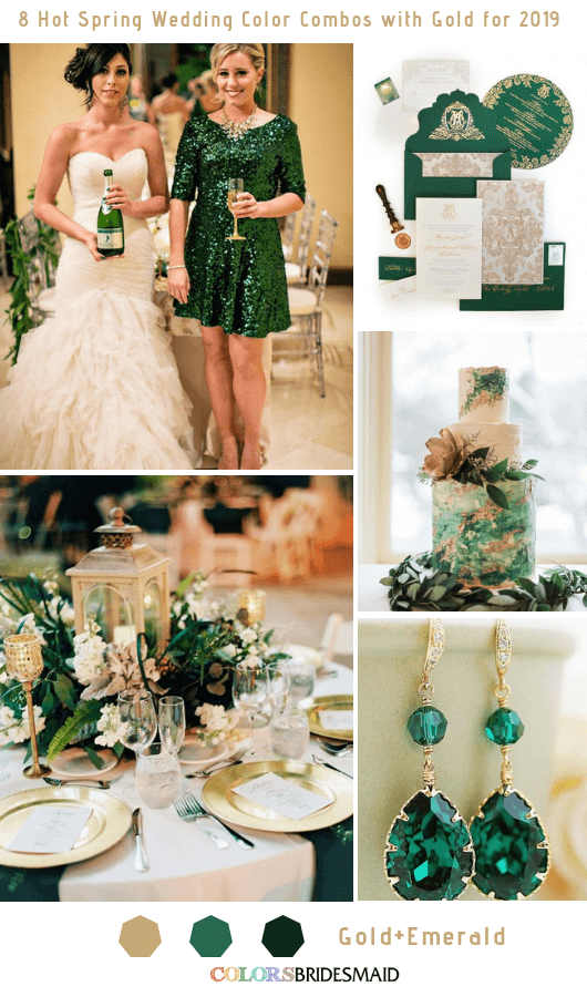 8 Hottest Spring Wedding Color Combos with Gold for 2019 - Emerald and Gold