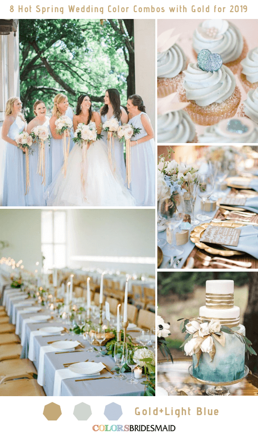 8 Hottest Spring Wedding Color Combos with Gold for 2019 - Light Blue and Gold