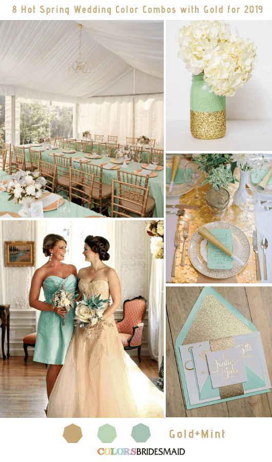 8 Hottest Spring Wedding Color Combos with Gold for 2019 - Mint and Gold