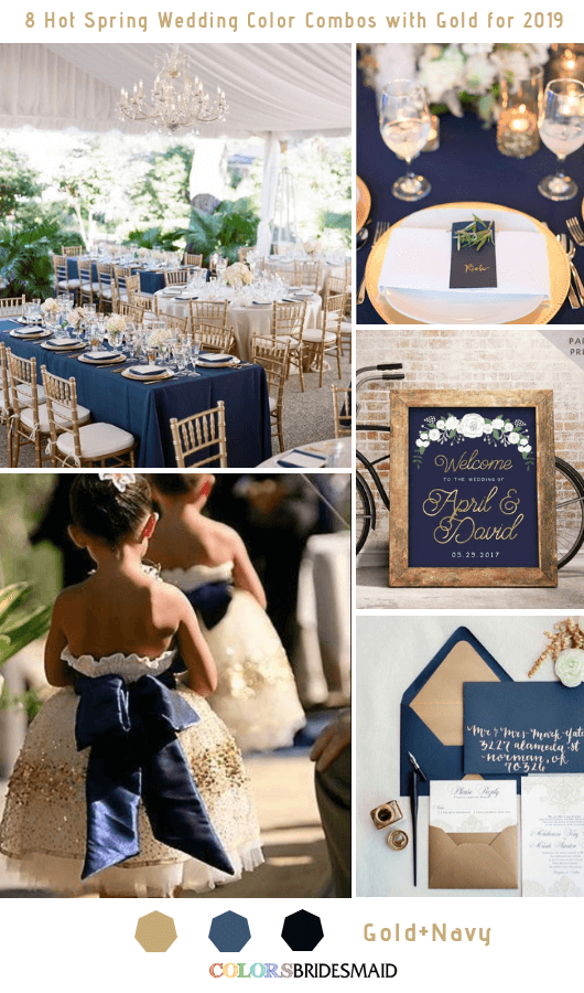 8 Hottest Spring Wedding Color Combos with Gold for 2019 - Navy and Gold