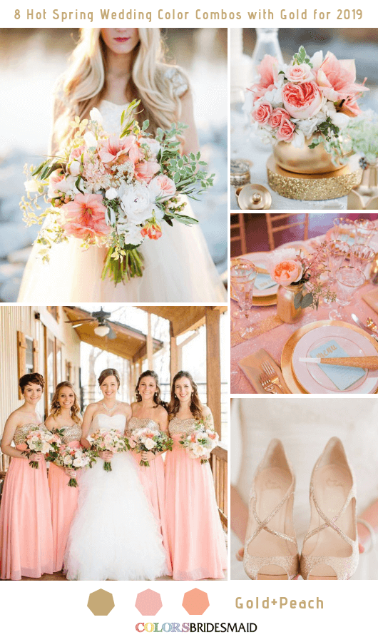 8 Hottest Spring Wedding Color Combos with Gold for 2019 - Peach and Gold