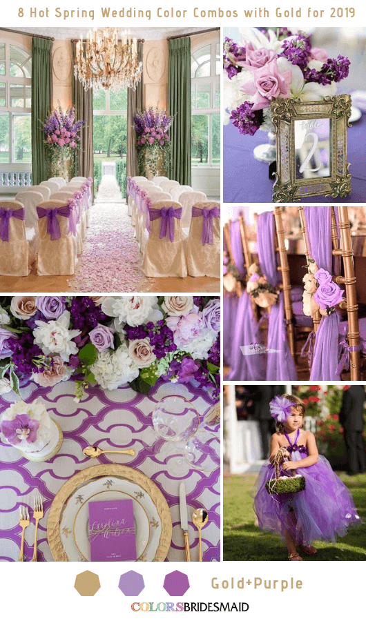 8 Hottest Spring Wedding Color Combos with Gold for 2019 - Purple and Gold