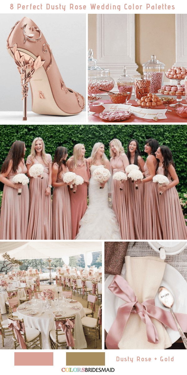 51c25fd24c Brilliant Dusty Rose and Gold Wedding Color Inspirations. Bridesmaid dresses  ...