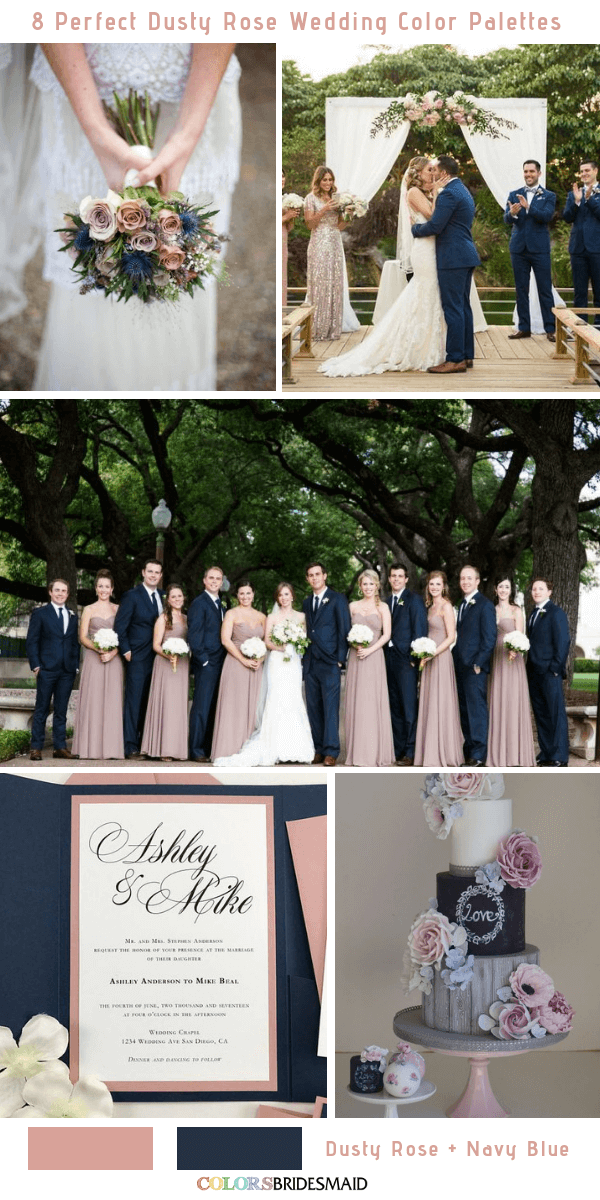 8 Perfect Dusty Rose Wedding Color Palettes for 2019 - Dusty Rose and Blue