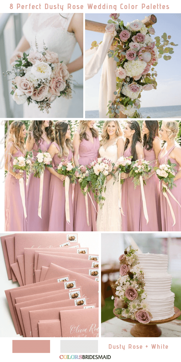 4f88ea7a55 8 Perfect Dusty Rose Wedding Color Palettes for 2019 - Dusty Rose and White