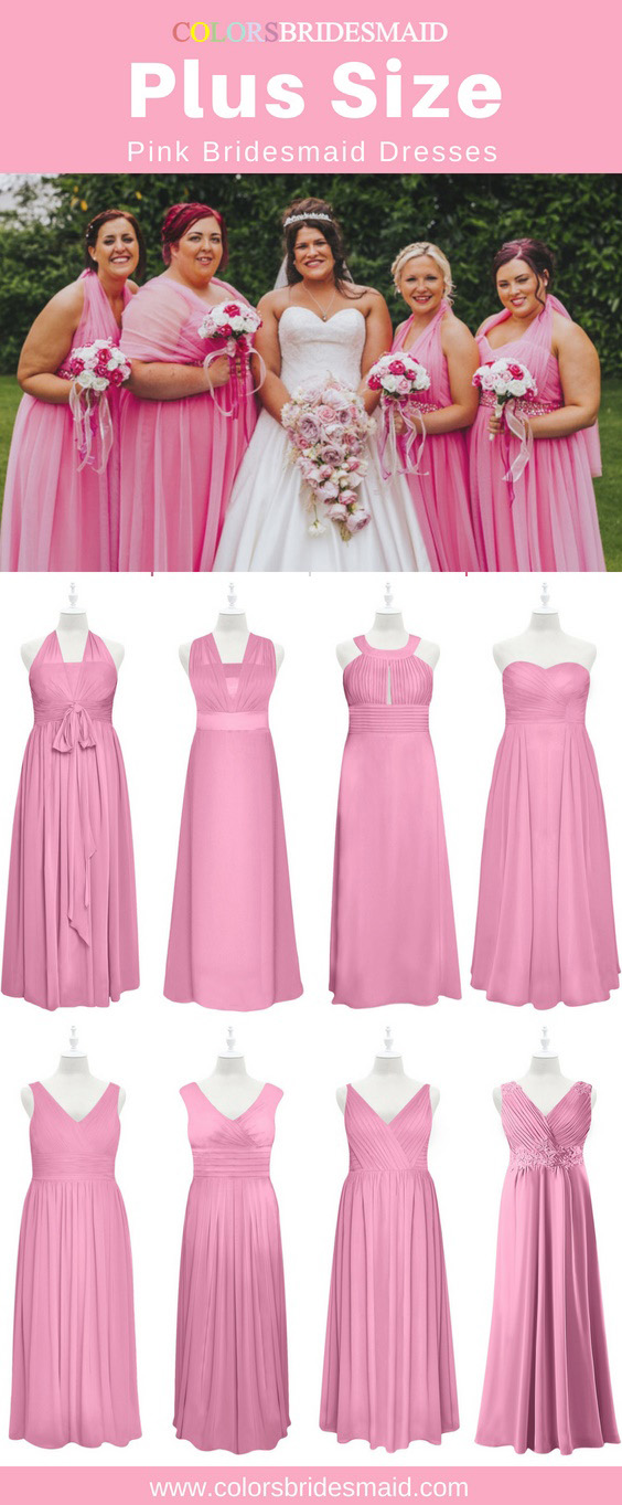 plus size pink bridesmaid dresses