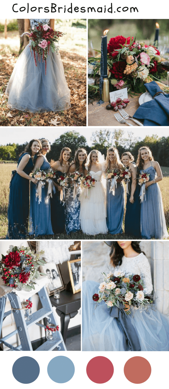 8 popular fall wedding color palettes for 2018 colorsbridesmaid dusty blue and burgundy wedding color ideas for fall 2018 junglespirit Image collections