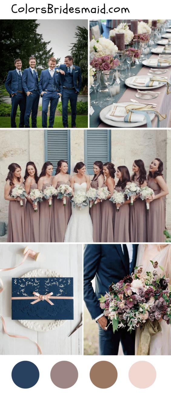 Dark Blue And Mauve Wedding Color Ideas For Fall 2018