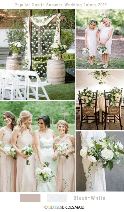 8 Popular Rustic Summer Wedding Color Ideas for 2019 - Blush and White