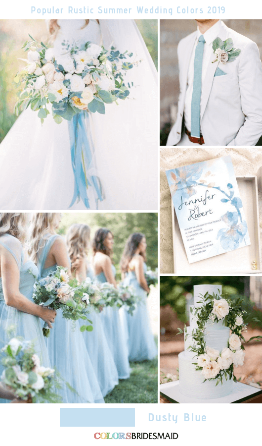8 Popular Rustic Summer Wedding Color Ideas for 2019 - Dusty Blue