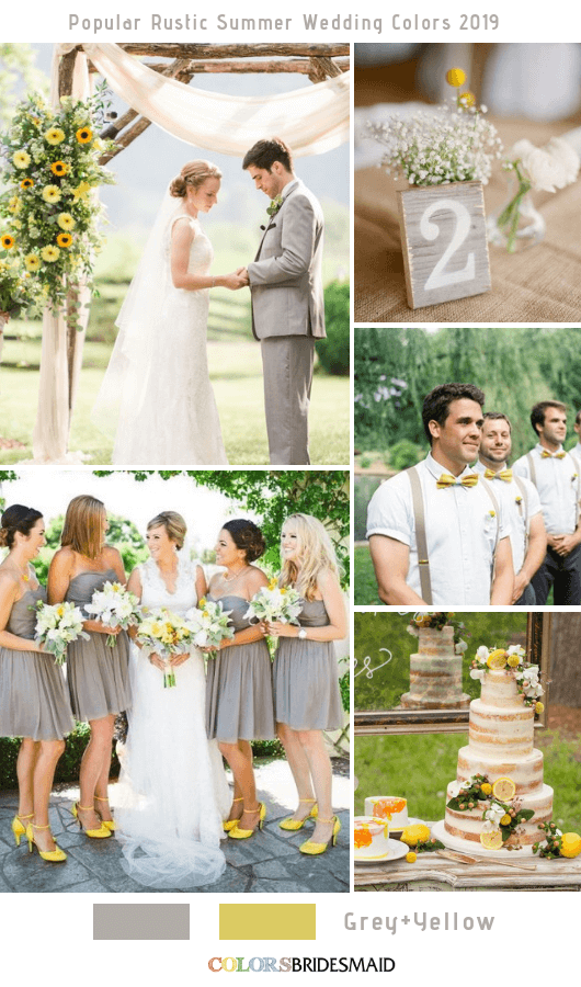 8 Popular Rustic Summer Wedding Color Ideas for 2019 - Grey and Yellow