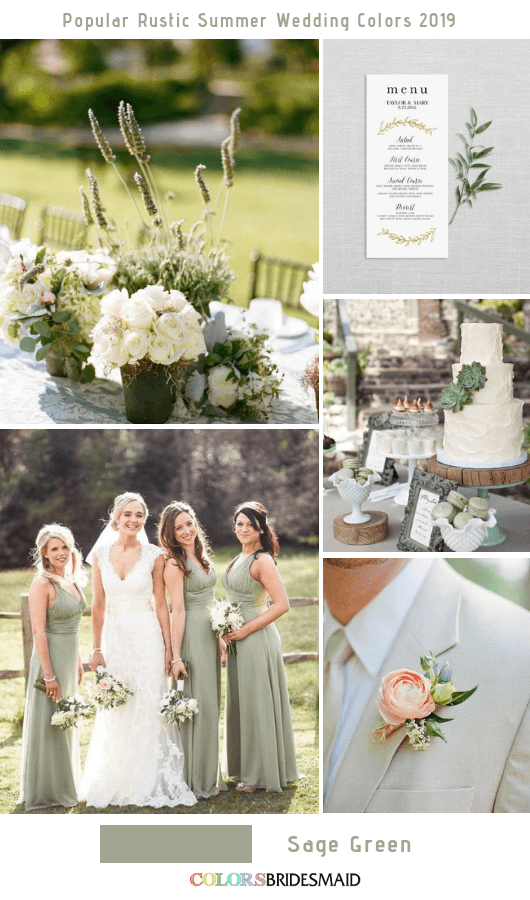 8 Popular Rustic Summer Wedding Color Ideas for 2019 - Sage Green