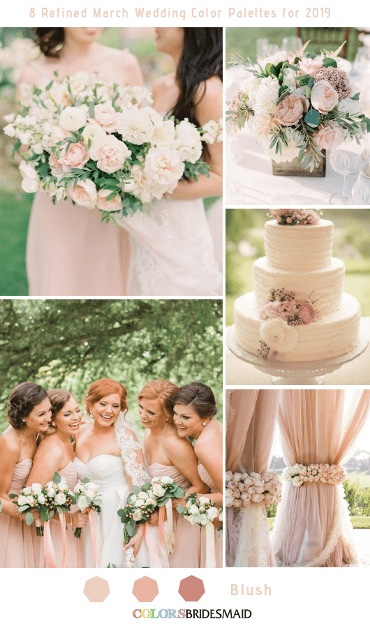 8 Refined March Wedding Color Palettes for 2019 - Blush