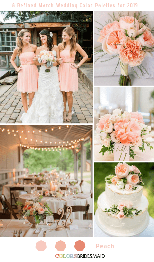 8 Refined March Wedding Color Palettes for 2019 - Peach