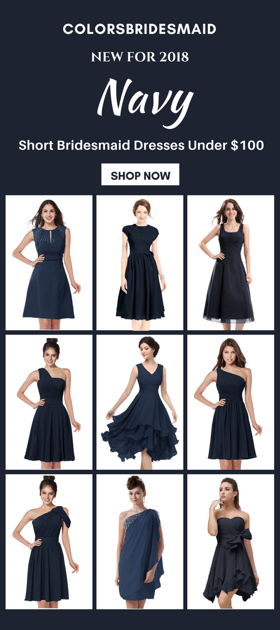 Short Navy Blue Bridesmaid Dresses Under 100