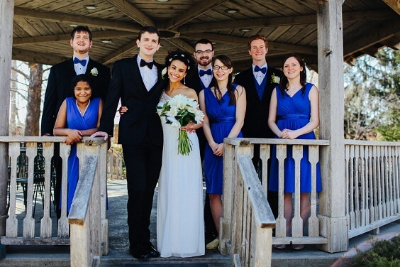Blue Wedding Royal Blue Bridesmaid Dresses Paired With Black Men S Suits Colorsbridesmaid