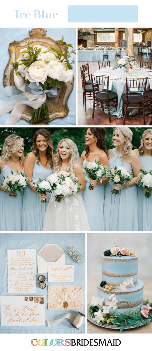 Blue Wedding - Ice Blue Bridesmaid Dresses Paired with White Bouquets
