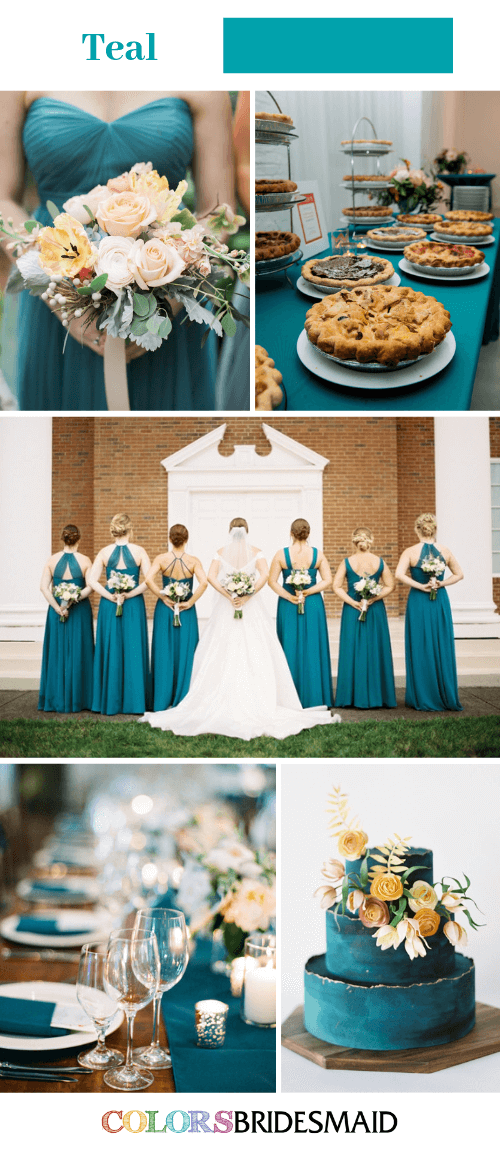 Blue Wedding - Teal Bridesmaid Dresses Paired with Light Brown Decorations