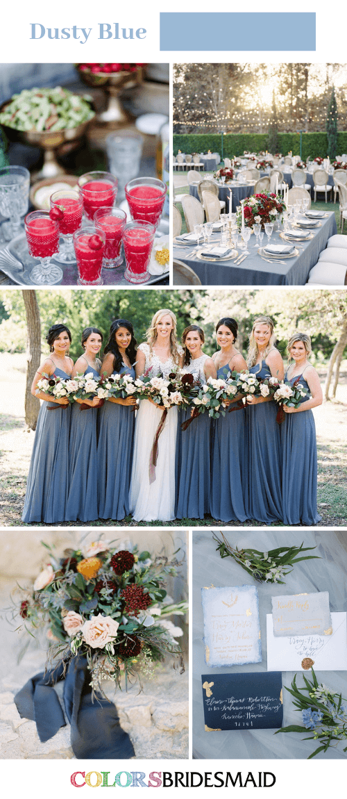 Blue Wedding - Dusty Blue Bridesmaid Dresses and Dark Red Decorations