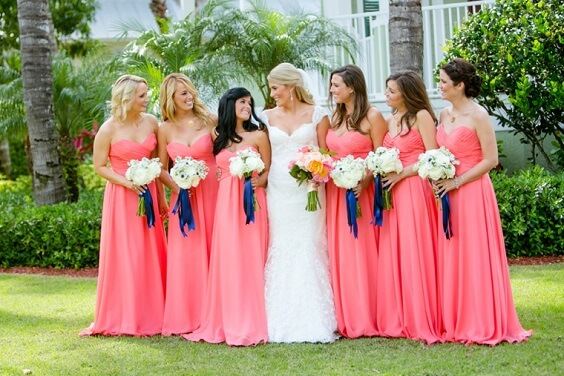 Coral Wedding Coral Bridesmaid Dresses Paired With Navy Shoes