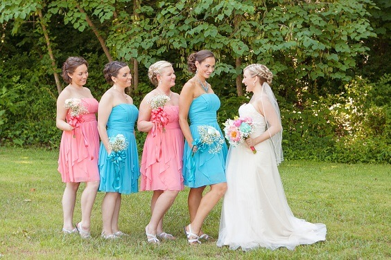 coral and turquoise bridesmaids dresses for 2019 summer coral wedding