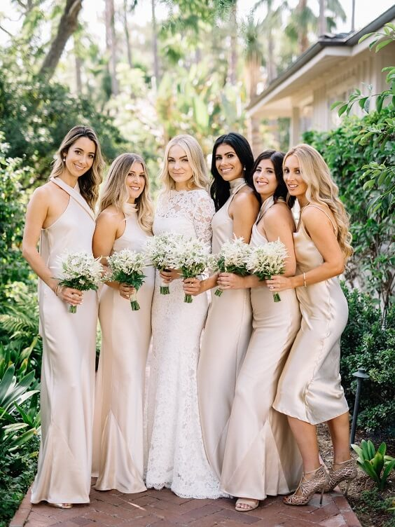 Champagne bridesmaid dresses for Champagne and White May Wedding 2020