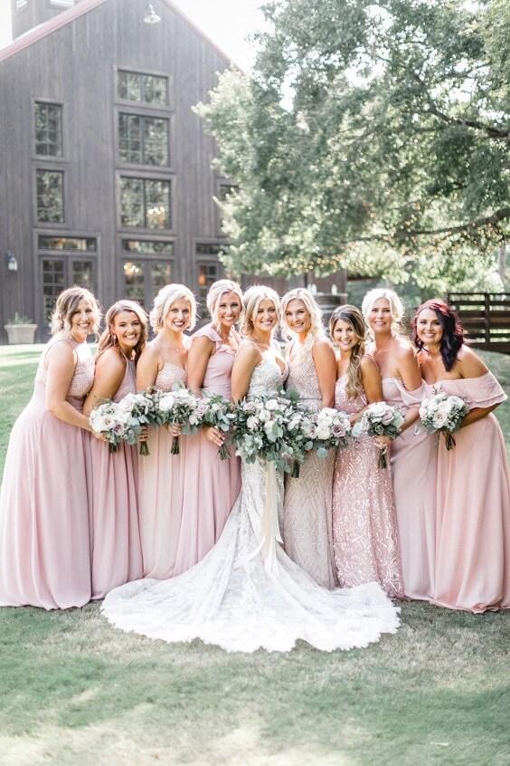 Blush bridesmaid dresses for Blush and Mauve May Wedding 2020