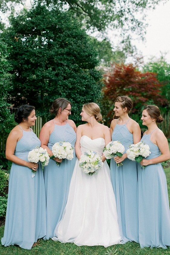 Light blue bridesmaid dresses for Light blue and White May Wedding 2020