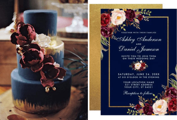 Elegant Navy Burgundy And Gold Winter Wedding Color Inspirations