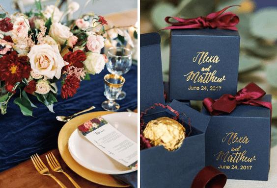 Elegant Navy Burgundy And Gold Winter Wedding Color Inspirations