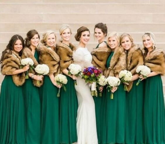 Green bridesmaid dresses Green, Ivory and Gold Winter Wedding