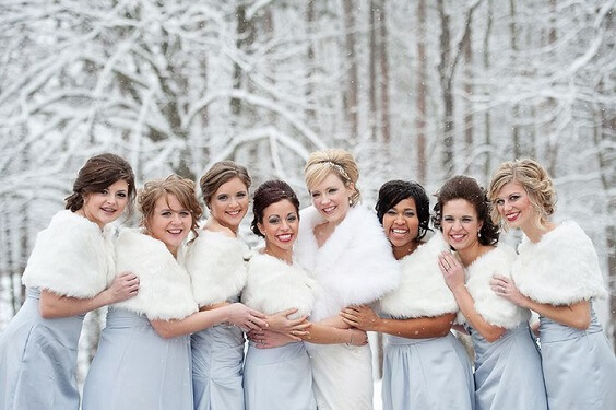 White bride and Bridesmaid dresses for Ice Blue, Aqua and Silver Winter Wedding Ideas
