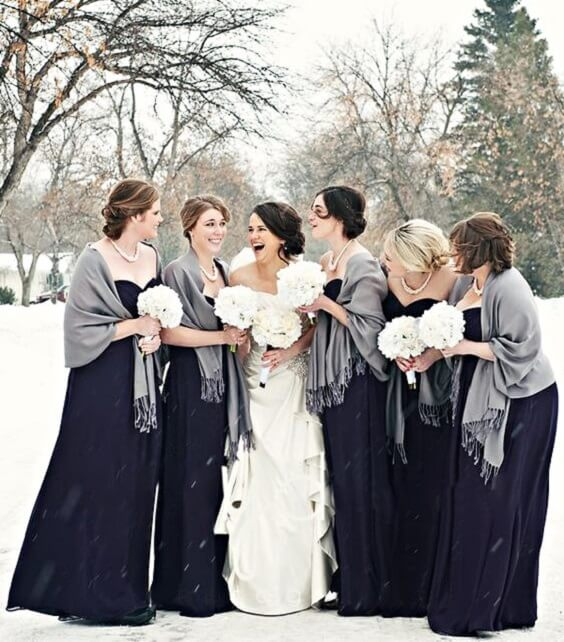 611406da27 Navy bridesmaid dresses and grey scarfs for Navy