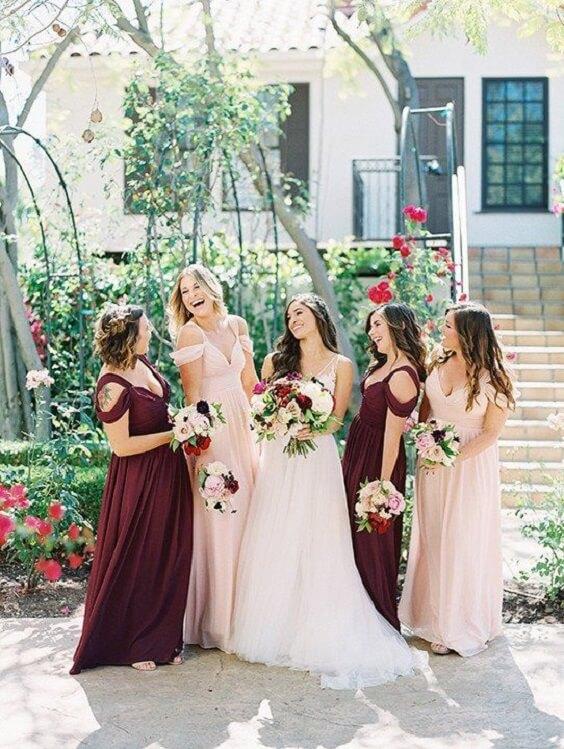 Burgundy and blush bridesmaid dresses for burgundy and blush wedding