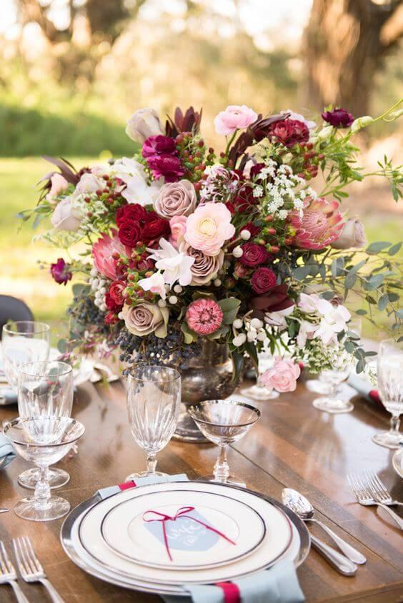 Wedding centerpieces  for burgundy and blush wedding