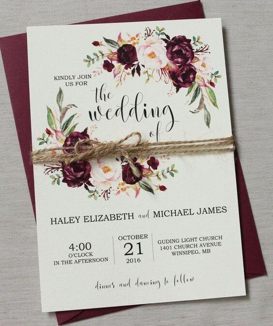 Burgundy wedding invitations for burgundy and blush wedding