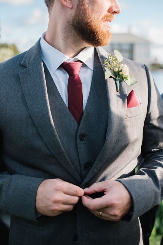 Grey groom suit with burgundy tie for burgundy and blush wedding