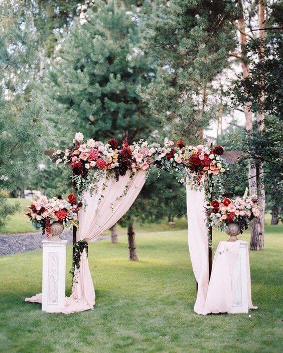 Wedding arch for burgundy and blush wedding
