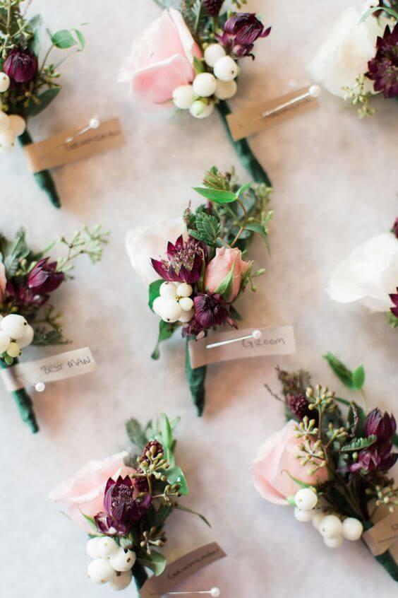 Wedding boutonniere for burgundy and blush wedding