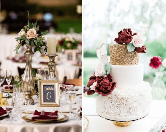 Wedding table decorations and cake for burgundy and blush wedding
